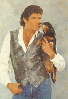 David Hasselhoff and dachshund painting.