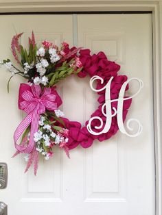 Spring Purple Burlap Wreath by Toobes on Etsy
