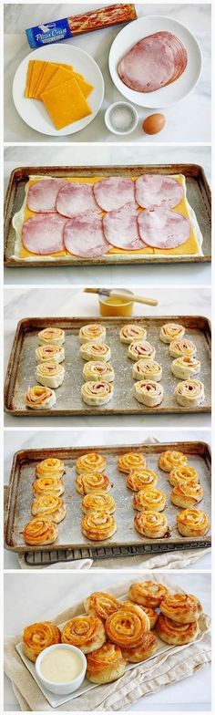 Ham-and-Cheese-Pretzel-Bites - snack appetizer Snacks Für Party, Appetizers For Party, Appetizer Recipes, Birthday Appetizers, Tea Party Snacks, I Love Food, Good Food, Yummy Food, Yummy Yummy