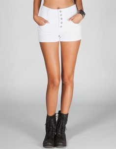 ALMOST FAMOUS Exposed Button Womens Highwaisted Denim Shorts