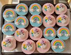Unicorn and rainbow cupcakes