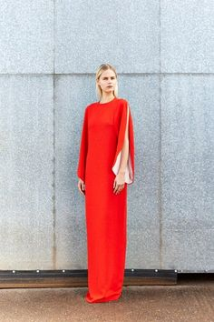 The Open Sleeve Gown in Poppy Red - Merchant Archive