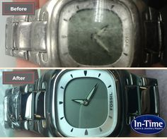 Before and after of a Fossil watch we've restored. Replacement glass and polish.