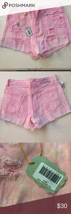 Bonage Jeans High Waisted Short. Baby pink high waisted ripped up shorts. New with tags. Bought for $68. Bonage Shorts Jean Shorts