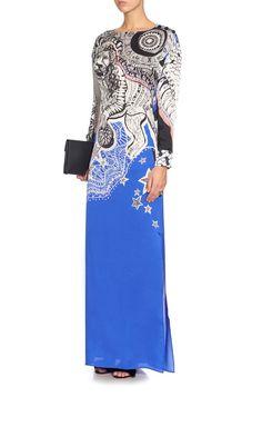 Emilio Pucci Blue Leo Print Silk Charmeuse Gown