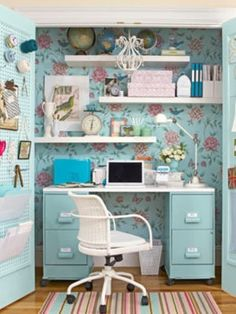 Creating a custom desk is easy! All it takes is two filing cabinets, a melamine desktop, and a can of spray paint in your favorite color.  Different coloirs, obviously for teen boy's room.