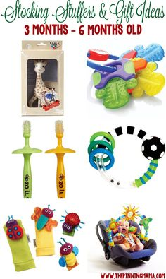 Great gift ideas for a 3 month old baby, 4 month old baby and 5 month old baby!  Perfect for stocking stuffers, Christmas or birthdays!