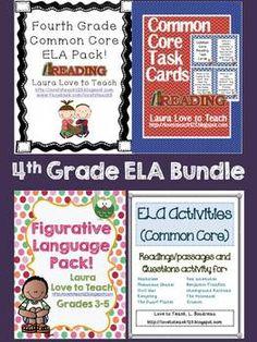 4th Grade ELA Common Core BUNDLE - 181 Pages! $