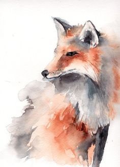 Fox Painting Original Watercolor Painting Animal by CanotStop