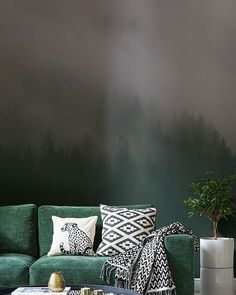 The beautiful forest wallpaper will definite capture a calm ambience from anyone who walks into the room. Image from MuralsWallpaper.com #wallpaper #naturewallpaper #nature #design #interiordesign #muralswallpaper