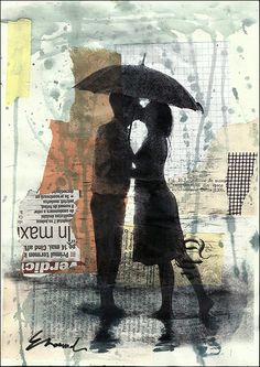 Print Art christmas gift Ink Drawing Love Couple Art Painting Illustration Gift Girl with Umbrella Autographed by artist Emanuel M. Ologeanu