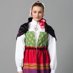 Østfold kvinnebunad Folk Costume, Costumes, Ethnic Dress, Norway, Sweden, Scandinavian, Apron, Vest, Lady