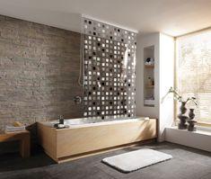 Inspirationen für das eigene Badezimmer Praktischer Duschvorhang, der einfach zu montieren und für ein aufgeräumtes Ambiente im Badezimmer sorgt. Der Vorhang lässt sich bei Bedarf mit einem Perlenketten-Seitenzug herunterziehen und trocknet besser als ein gewöhnlicher Vorhang.