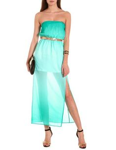 Belted Ombre Maxi Tube Dress: Charlotte Russe