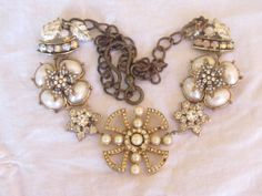 vintage repurposed assemblage necklace jewelry star, flower, snowflake rhinestone and pearl by atelier paris on etsy