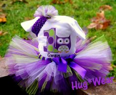 Custom Owl Birthday Tutu with age Personalized Purples by HugWear, $39.95