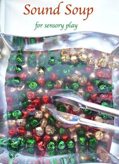 Sensory activity with sound.. Make a jingle soup! #christmasactivitiesforkids