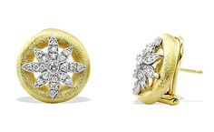 Aaron Henry: Diamond Snowflake and  Gold Circle Earclips    Diamonds set in Platinum Snowflakes  18k Yellow Gold Circles