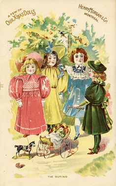 As this unusual color Demonstrates flat, Morgan's Went to great efforts to draw attention to to icts assortment of dolls. Henry Morgan & Company Xmas Catalogue of Goods, 1897, pp. Between. 96, 97.