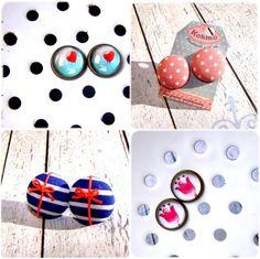 Cover button earrings, glass covered earrings, handmade ear studs, made by www.facebook.com/kokinoshop