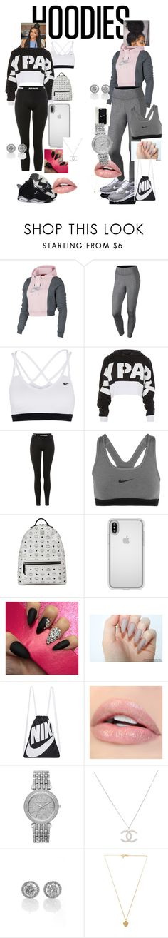 """hoodies"" by deniseloveswag07 ❤ liked on Polyvore featuring NIKE, Topshop, Ivy Park, Retrò, MCM, Speck, Michael Kors, Vanessa Mooney and Hoodies"
