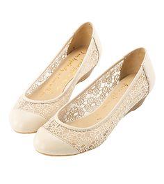 Grace giftGrace gift 官方購物網站 - 曼妙蕾絲小坡跟娃娃鞋