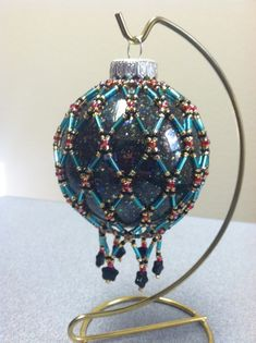 Beaded Ornament Cover evening stars by ShellysCorner on Etsy, $15.00
