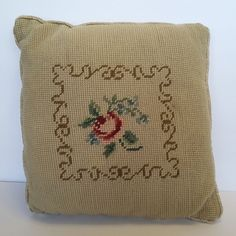 """Antique Needlepoint Embroidered Small 10"""" Square Floral Throw Pillow Mohair Back"""