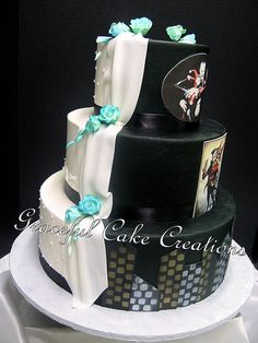 Bride and Groom Wedding Cake with Joker and Harley Quinn Theme | by Graceful Cake Creations