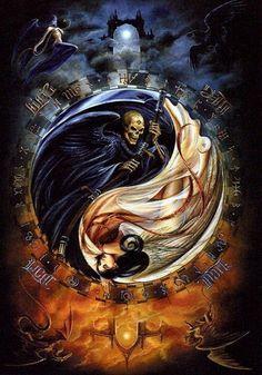 17 best images about ying yang on pisces Vs Angels, Angels And Demons, Evil Demons, Wallpaper Caveira, Dark Fantasy, Fantasy Art, Arte Yin Yang, Art Noir, Yin Yang Tattoos