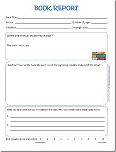 Book Report and reading log printables for kids. #language #reading #writing