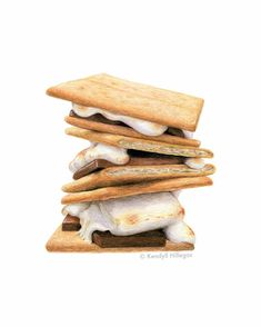 S'more Stack // Food Illustration // Food art print, Smores, Summer BBQ Art, Camp Decor