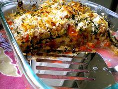 layered eggplant, tomato and zuchini casserole