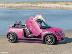 Pink Mini Cooper Convertible☆ Girly Cars for Female Drivers! Love Pink Cars ♥ It's the dream car for every girl ALL THINGS PINK #cooper #pink!