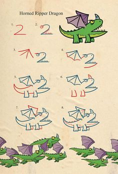 Learn to draw dragons and monsters using numbers. Simple to follow steps show how to draw the many kinds of dragons that reside on Dragon Island. Drawing Dragons With Numbers *48 pages *full color *pa Book Drawing, Drawing Lessons, Drawing For Kids, Drawing Tips, Art Lessons, Art For Kids, Learn Drawing, Line Drawing, Easy Drawings