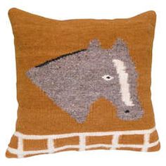 19th c. Navajo Woven Pictoral Pillow with Image of Horse