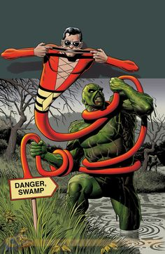Patrick O'Brian, AKA Plastic Man fighting Alec Holland, AKA Swamp Thing