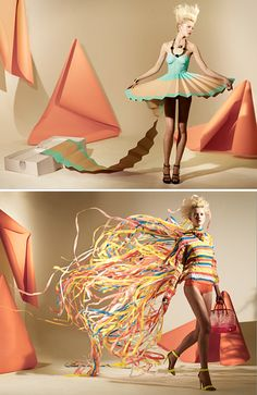 Exquisite paper dresses for Madame magazine created by Matthew Brodie and Hattie Newman.