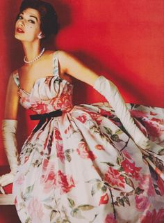 Floral gown 50s full skirt evening wear formal red white Dress by Balmain, L'Officiel March 1957