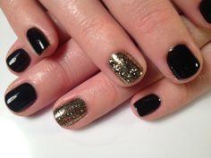 Shellac nails black w gold additive!