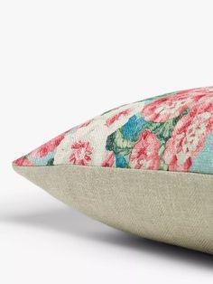 Sanderson Hollyhocks Cushion at John Lewis & Partners Sanderson Fabric, Shell Station, John Lewis Shops, Collection Services, Hollyhock, Cushion Filling, Home Collections, Fabric Design, Cushions