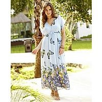 Butterfly Print Maxi Dress - Large Size Clothing - www.plussizedglamour.co.uk