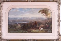 """WILLIAM HART (1823-1894, American)  """"Hudson River Landscape"""", oil on paper, signed and dated lower right 1855, matted and framed in the orig..."""