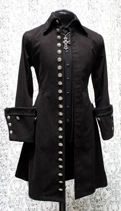 50d1fcb788 GALLEON PIRATE COAT - BLACK DENIM Pirate Fashion