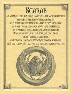 """The Scarab Prayer poster seeks the guidance and wisdom of the scarab, a symbol of rebirth, strength, death, and resurrection, born of ancient Egypt. 8 12"""" x 11""""."""