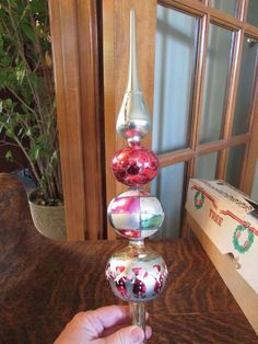 "STUNNING VINTAGE MERCURY GLASS FOUR PART 18"" W/ BOX CHRISTMAS TREE TOPPER"