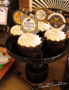 Chocolate cupcakes at a Halloween party! See more party ideas at CatchMyParty.com!