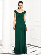 """After Six Bridesmaids Style 6667; shown in hunter (88 available colors); Full length off the shoulder lux chiffon dress w/ v-neck rouched bodice and natural waist. Modified circle skirt. Sizes available: 00-30W, and 00-30W extra length. Only 3"""" additional extra length available.."""