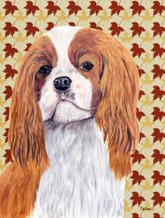 Cavalier Spaniel Fall Leaves Portrait Flag Canvas House Size