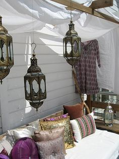 Outdoor lounge - would love to decorate our canopied area with lights and seating!